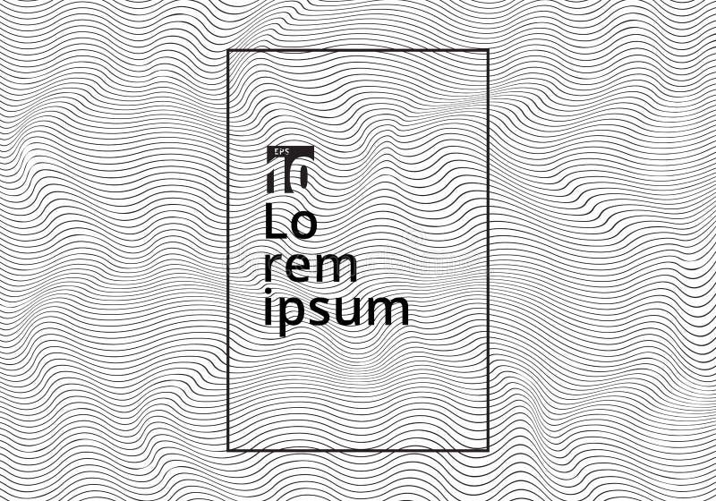 De abstracte zwarte golvende strepen gebogen textuur van rimpelingslijnen op witte achtergrond Moderne in 3D krommen vector illustratie