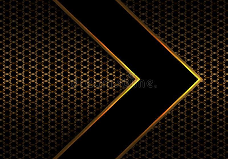 De abstracte zwarte richting van de pijl gouden lijn op van het het patroonontwerp van het metaal hexagon netwerk moderne futuris royalty-vrije illustratie