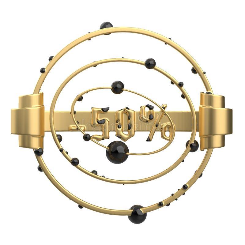 De abstrakta runda sammansättningarna för tecken -50off med sikt, cirklar och sfärer Gjort av guld- metallisolat på vit vektor illustrationer
