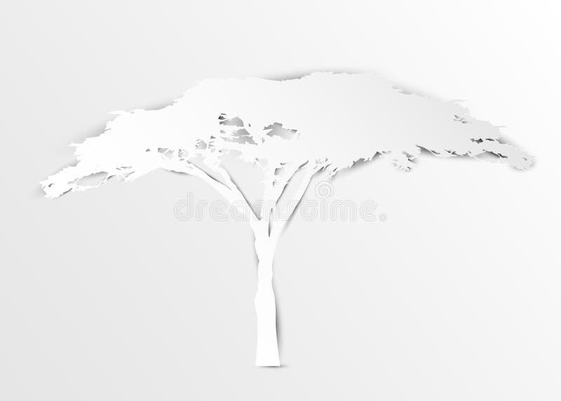 De acaciaboom in document sneed kunststijl of de digitale witte kleur van de ambacht vectorillustratie Afrikaans boompictogram, h royalty-vrije illustratie