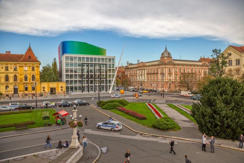 De Academie van Zagreb van Muziek stock foto's
