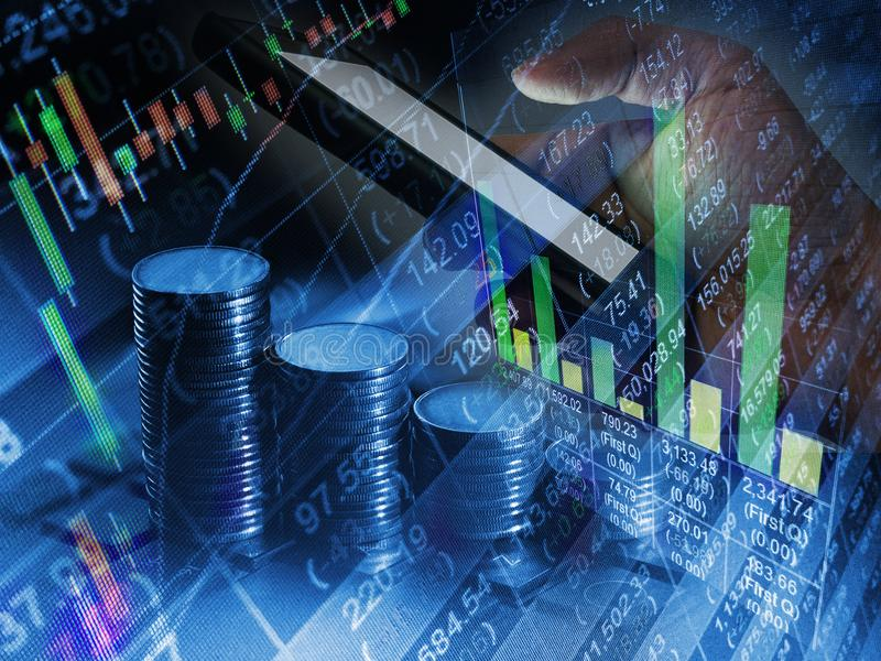 De acción del mercado del intercambio comercio financiero del móvil en línea, BU de Internet imagenes de archivo