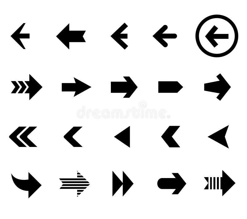 De achter en volgende vectorreeks van pijlpictogrammen royalty-vrije illustratie