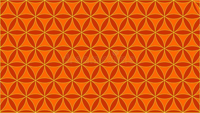 De achtergrond bevat met elkaar verbindende cirkels en hun vorm lijkt op rozen, oranje kleuren vector illustratie
