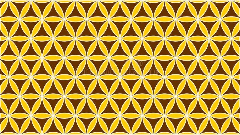 De achtergrond bevatte met elkaar verbindende die cirkels met vormen en rozen en gouden kleuren worden gestrooid royalty-vrije illustratie
