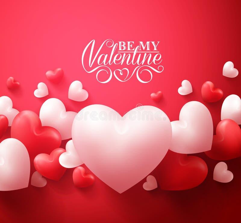 De Achtergrond die van Alentineharten met de Gelukkige Groeten van de Valentijnskaartendag drijven vector illustratie