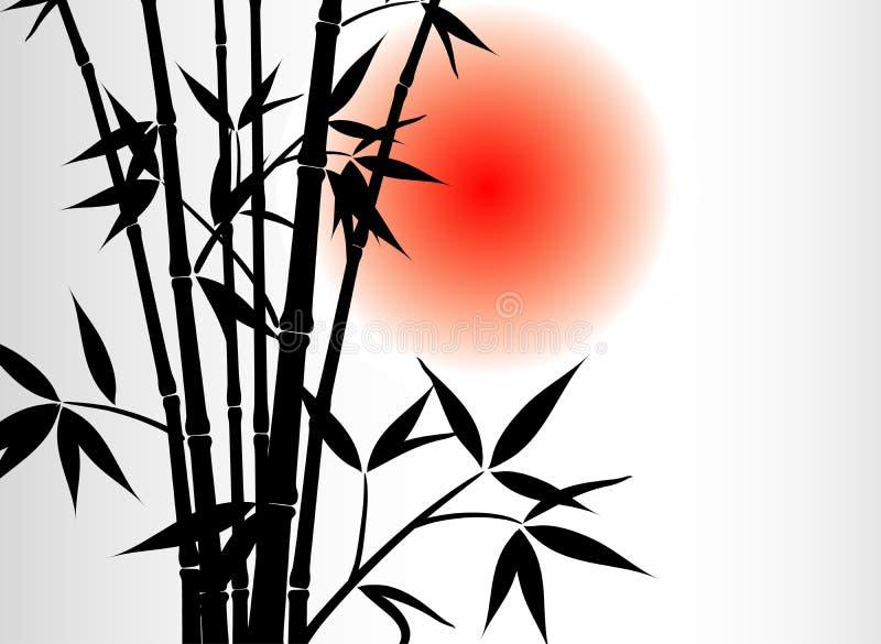 De achtergrond en de zon van het bamboe stock illustratie