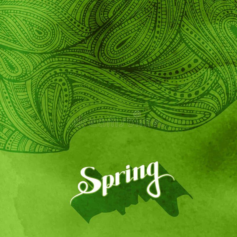 De achtergrond en zentangle het patroon van de waterverfplons De lente royalty-vrije illustratie
