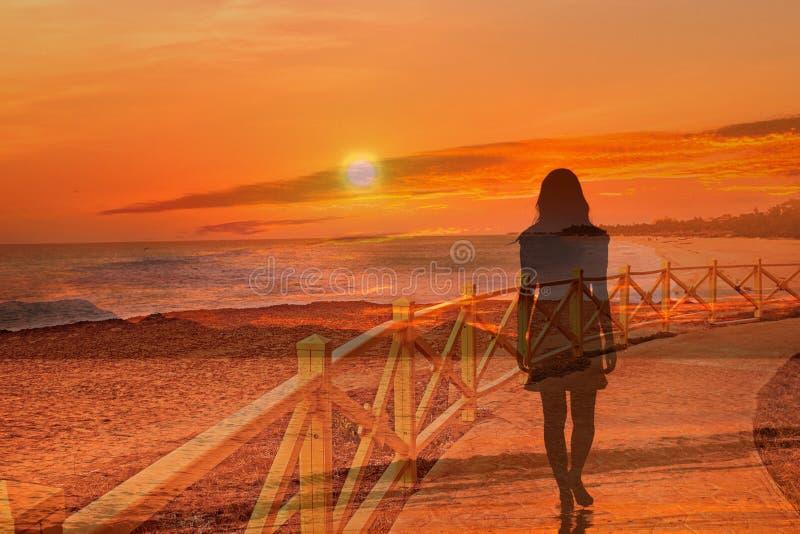 De achtergrond is het silhouet van een vrouw stock illustratie