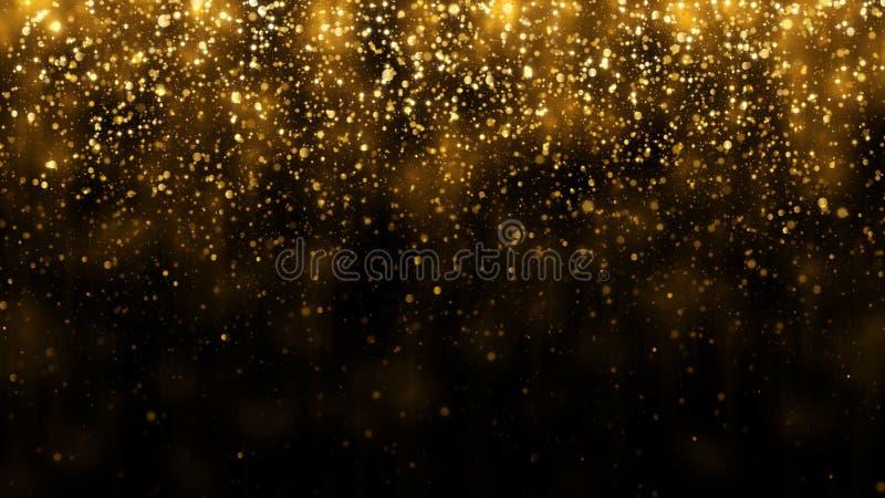 De achtergrond met gouden vallen schittert deeltjes Dalende gouden confettien met magische lichte mooie lichte achtergrond royalty-vrije stock afbeeldingen