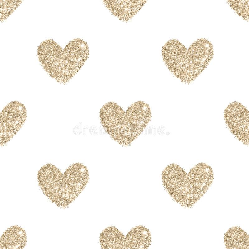 De achtergrond met harten van gouden schittert, naadloos patroon in uitstekende kleuren stock afbeeldingen