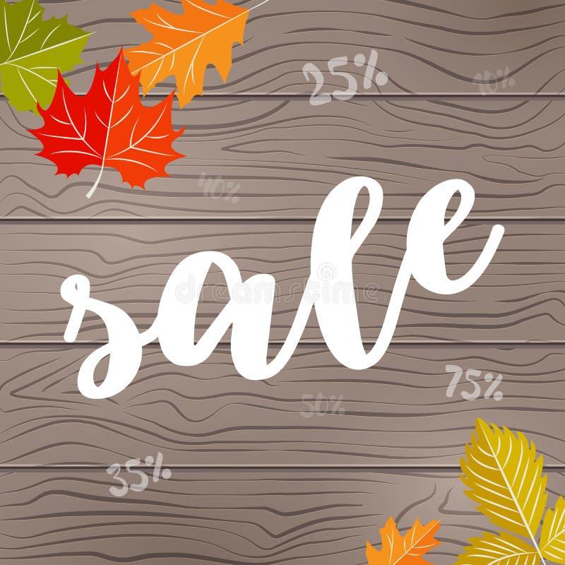 De achtergrond op houten textuur met de herfst doorbladert vector illustratie