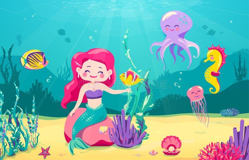 De achtergrond van de beeldverhaalmeermin met vissen, rotsen, koraal, zeester, octopus, zeepaardje, zeewier, parel, kwallen onder royalty-vrije illustratie
