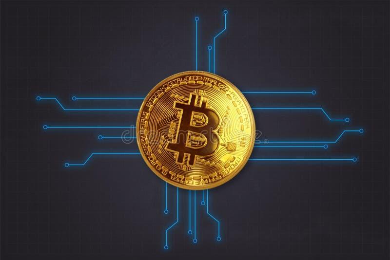 De Achtergrond van Bitcoin van de Kryptomunt als 3D behang, presentatiescherm, enz. stock fotografie