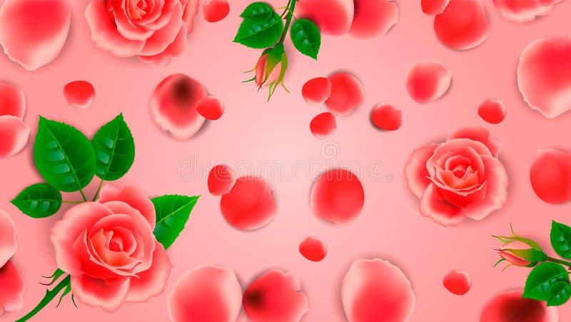 De achtergrond van bloemen en nam bloemblaadjes toe Lay-outontwerp voor het ontwerp van kaarten voor de de huwelijksdag of verjaa stock illustratie