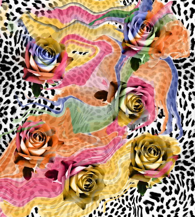 de achtergrond van de bloemenluipaard stock foto