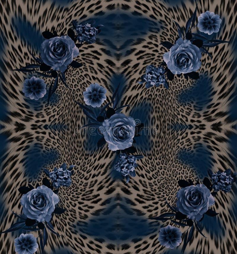 de achtergrond van de bloemenluipaard stock afbeelding