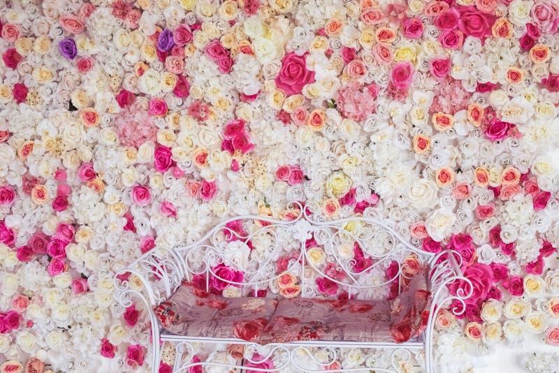 De achtergrond van de bloemtextuur voor huwelijksscène royalty-vrije stock afbeelding