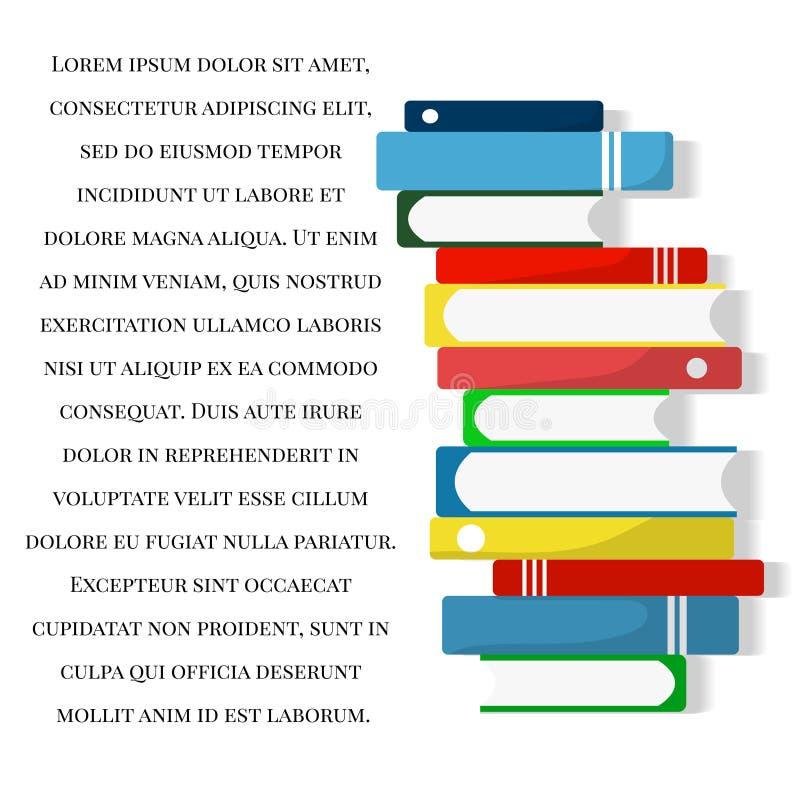 De achtergrond van de boekenstapel Graduatie Het concept van het onderwijs en van de kennis Terug naar School Vector illustratie stock illustratie