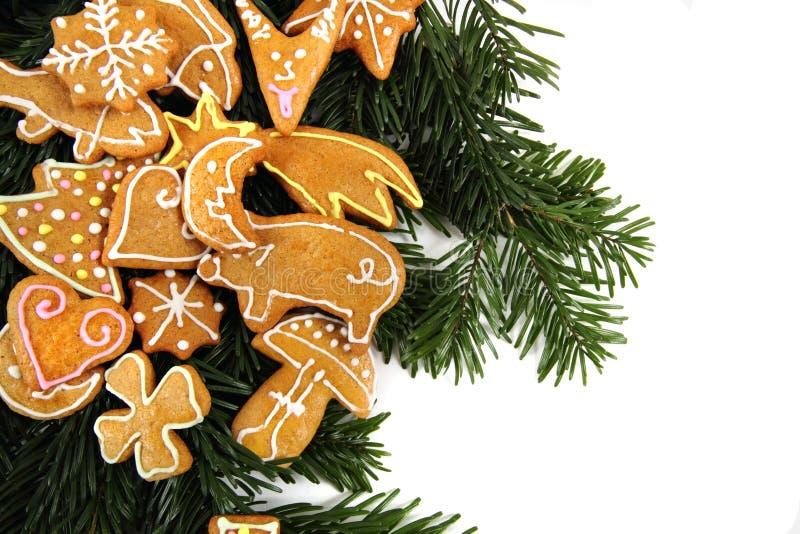 De achtergrond van Chritsmas met Kerstmiskoekjes stock afbeelding