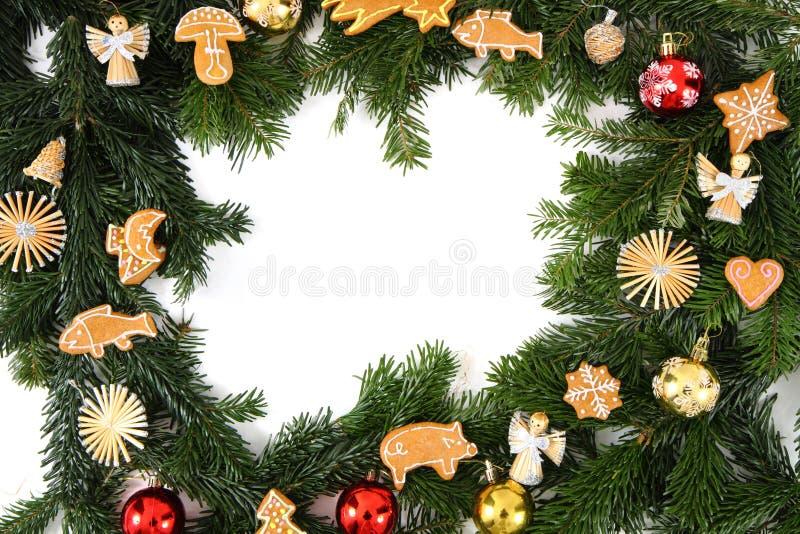 De achtergrond van Chritsmas met Kerstmiskoekjes stock foto's