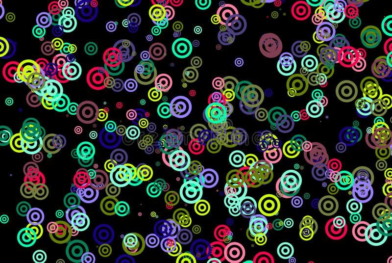 De Achtergrond van cirkels op Zwarte stock afbeelding
