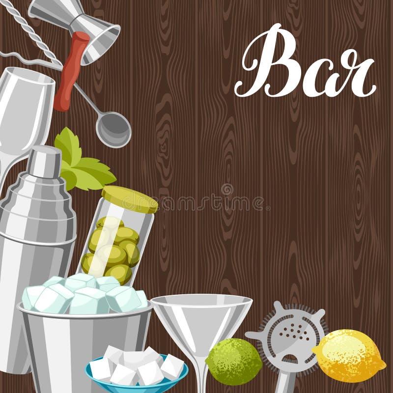 De achtergrond van de cocktailbar De essentiële hulpmiddelen, glaswerk, mixers en versiert vector illustratie