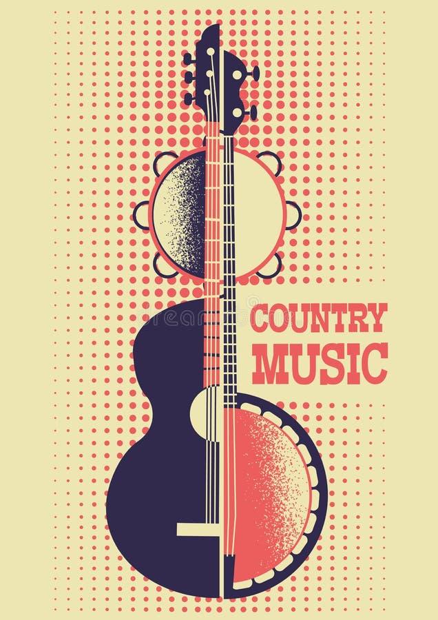 De achtergrond van de country muziekaffiche met muzikale instrumenten en Dec royalty-vrije illustratie