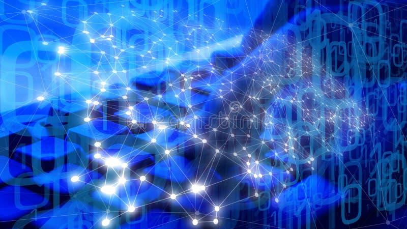 De achtergrond van de Cyberaanval, de algoritmen van de robotcodage royalty-vrije stock fotografie