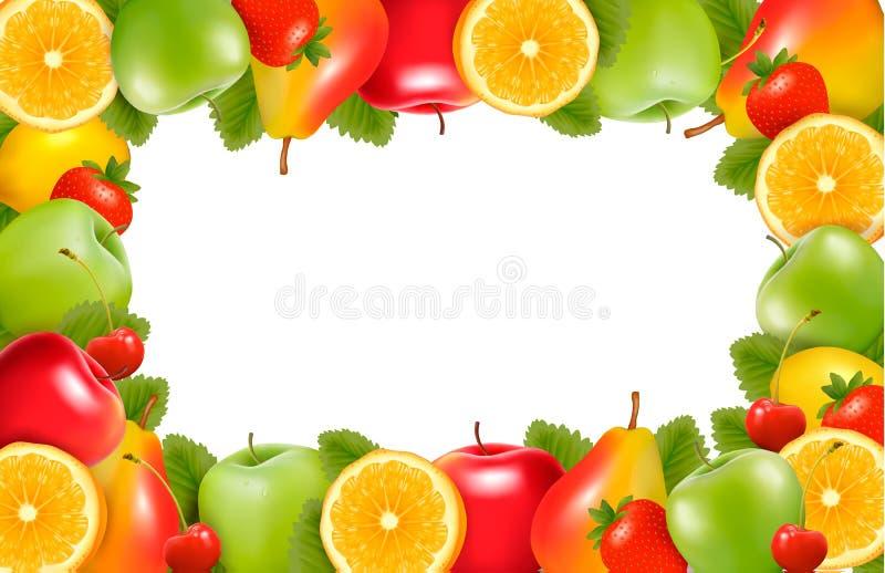 De achtergrond van de aard die van heerlijk rijp fruit wordt gemaakt royalty-vrije illustratie
