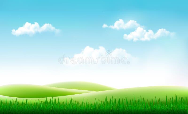 De achtergrond van de aardzomer met groen gras en blauwe hemel royalty-vrije illustratie