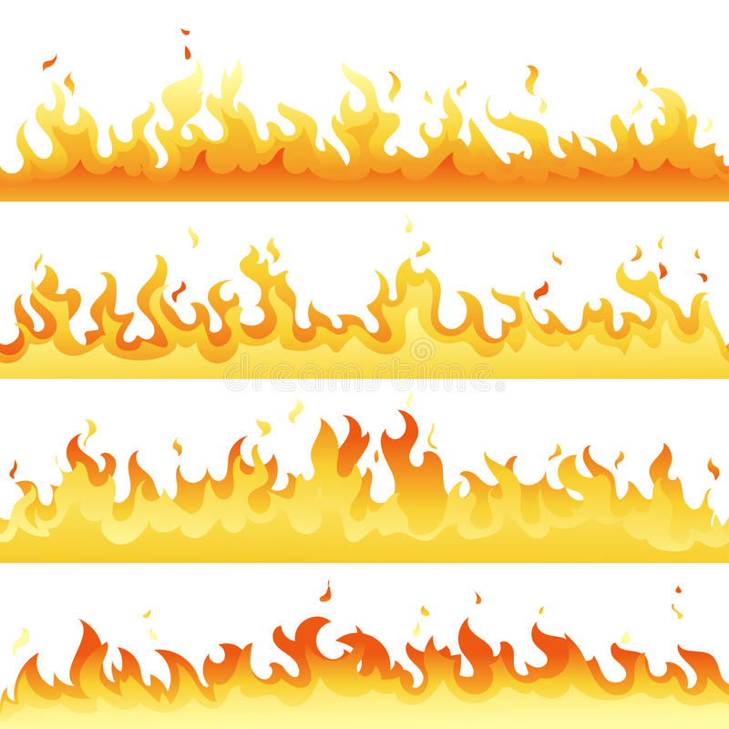 De achtergrond van de achtergrond brandvlam reeks Horizontaal vuurmalplaatje voor banner, Web of brochure Vectorexplosiedecoratie vector illustratie