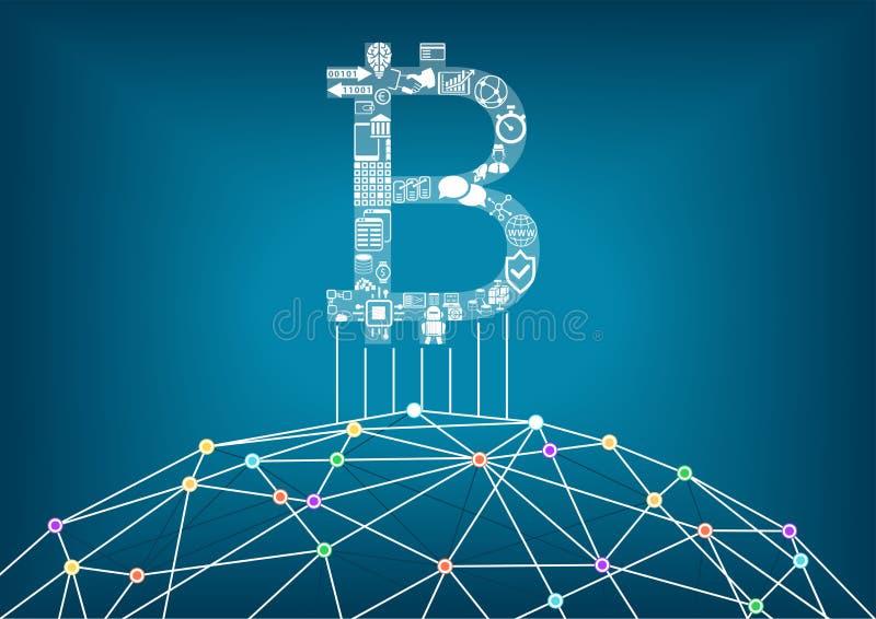 De achtergrond van de Bitcoinillustratie met verbonden Internet als voorbeeld voor crypto munten en blokketen technologie royalty-vrije illustratie