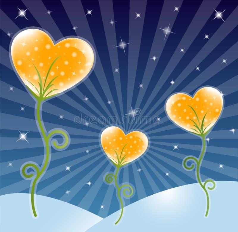 De achtergrond van de bloem met hart vector illustratie