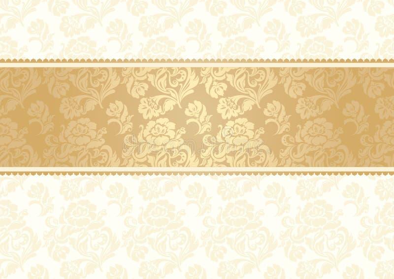 De achtergrond van de bloem met naadloos kant, goud stock illustratie