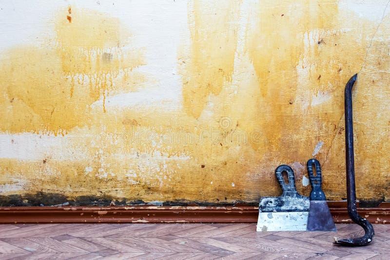 De achtergrond van de bouw Oude muurruimten royalty-vrije stock foto's