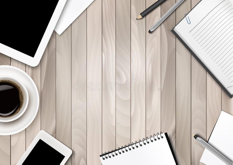 De achtergrond van de bureauwerkruimte - koffie, tablet, notitieboekjes stock illustratie