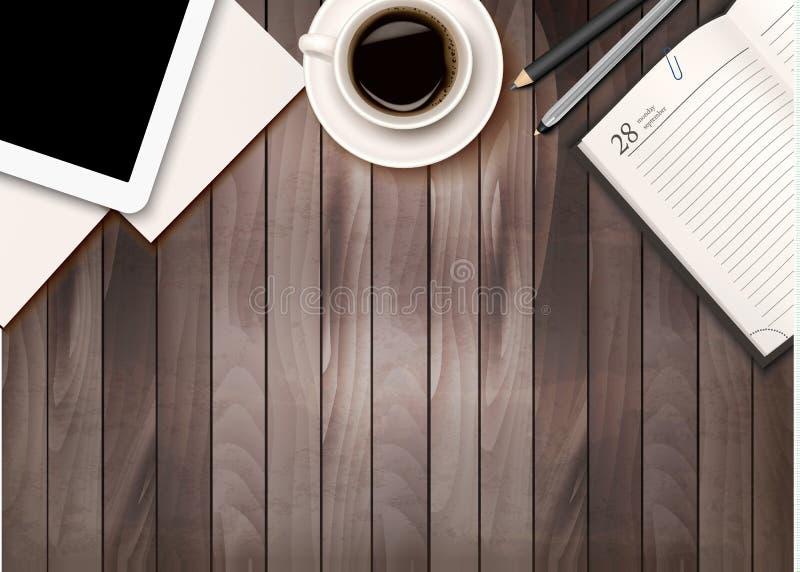 De achtergrond van de bureauwerkruimte - koffie, tablet, notitieboekjes royalty-vrije illustratie