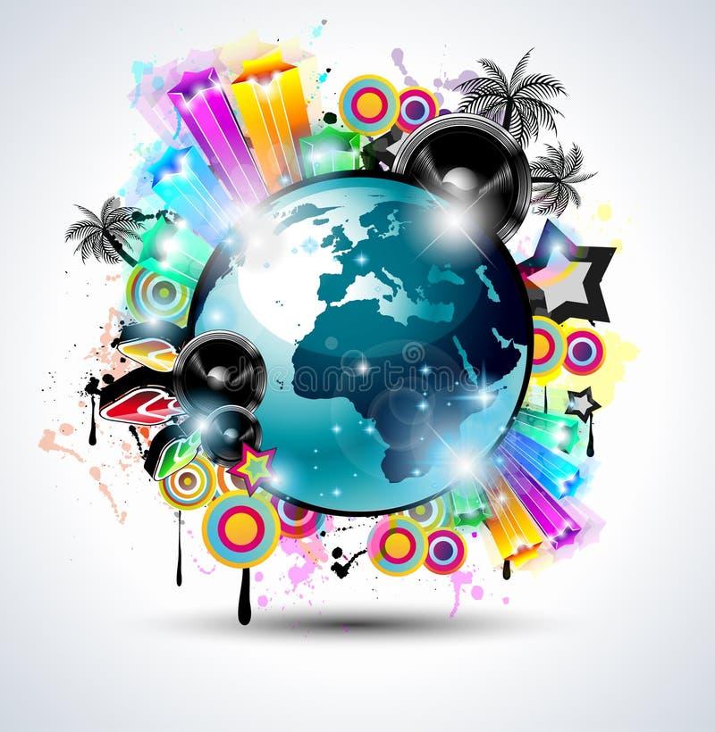 De achtergrond van de Club van de muziek voor internationa van de discodans stock illustratie