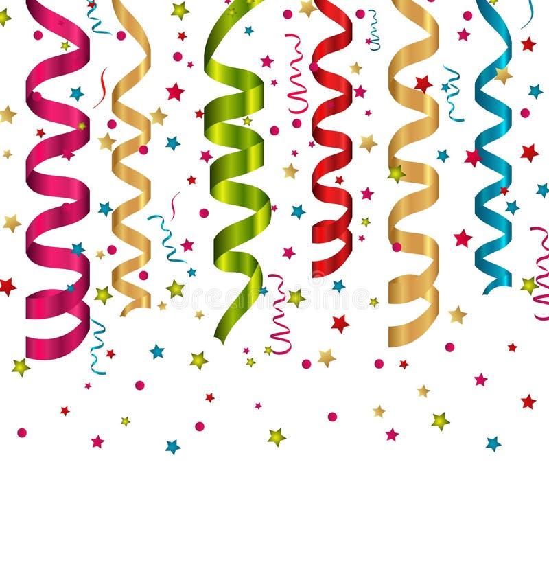De achtergrond van de confettienvakantie met vastgestelde kleurrijke document kronkelweg royalty-vrije illustratie