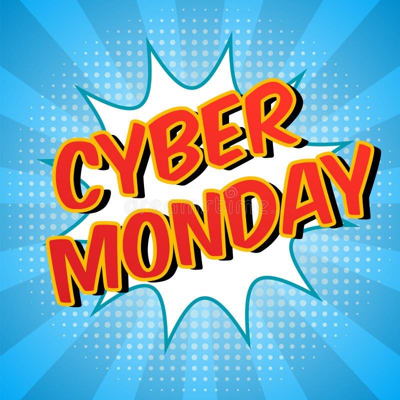 De achtergrond van de Cybermaandag Kleurrijke digitale promotekst Grappige toespraakbel met halftone effect Verkoop, kortingsthem stock illustratie