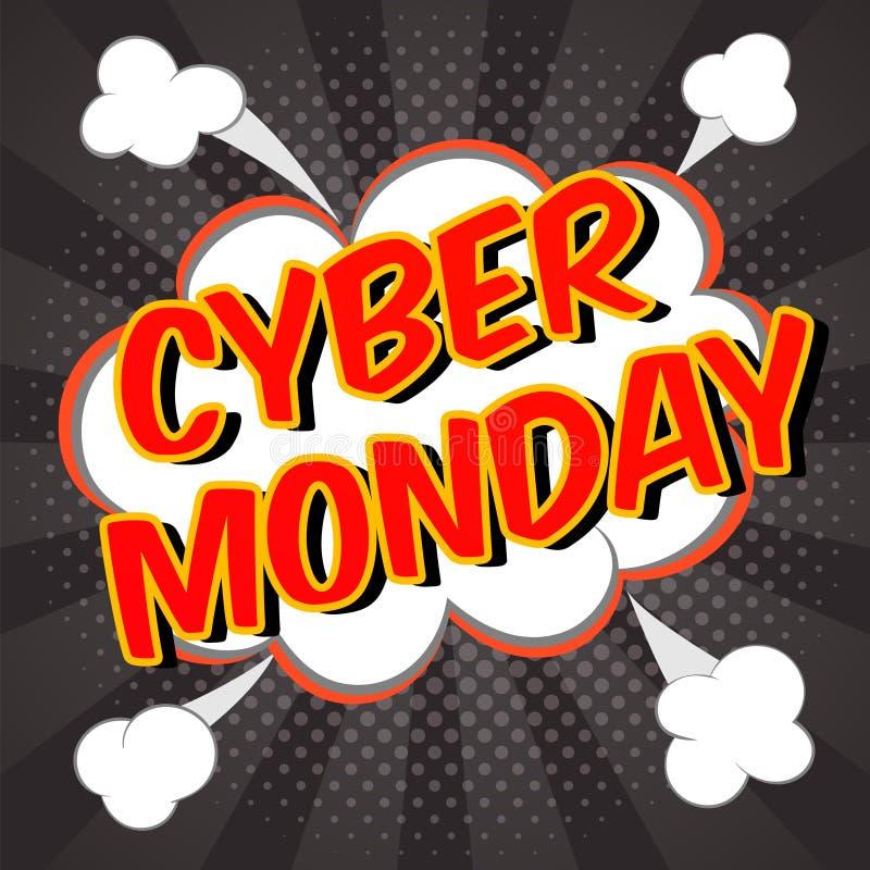 De achtergrond van de Cybermaandag Kleurrijke digitale promotekst Grappige toespraakbel met halftone effect Verkoop, kortingsthem vector illustratie