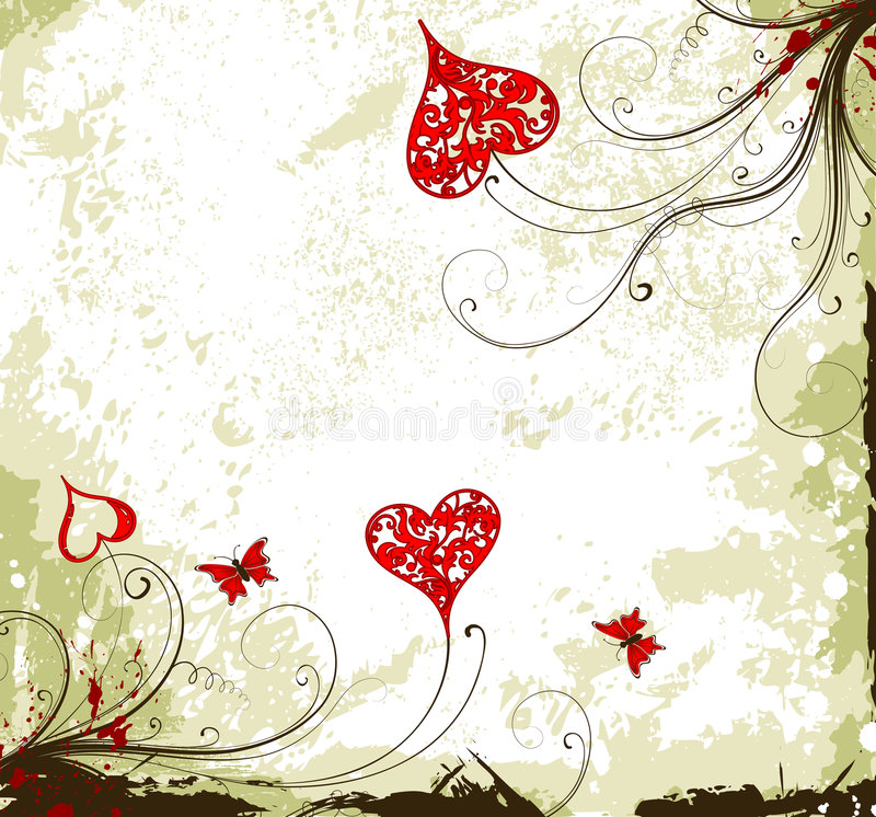 De achtergrond van de Dag van valentijnskaarten grunge met harten en F stock illustratie