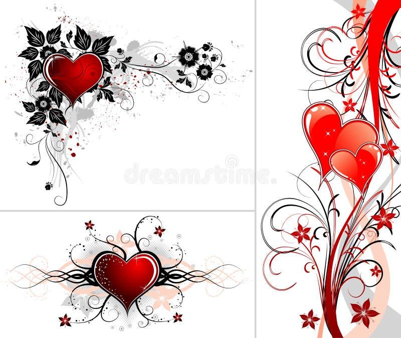 De achtergrond van de Dag van valentijnskaarten met harten en bloem vector illustratie