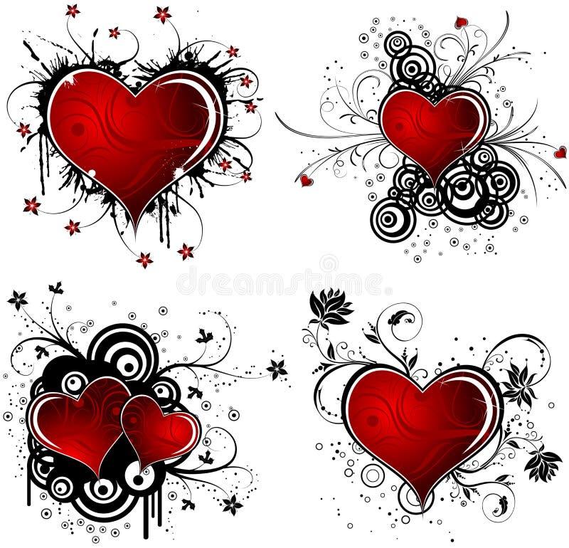 De achtergrond van de Dag van valentijnskaarten met harten en bloem stock illustratie