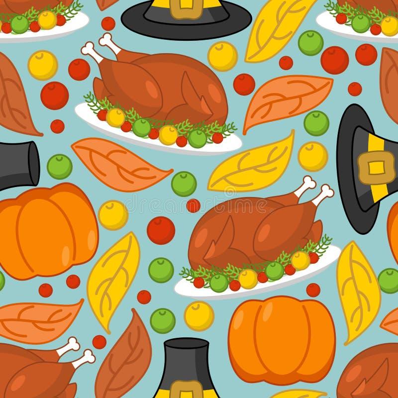 De achtergrond van de dankzegging Geroosterd Turkije en verse pompoen Pilgr stock illustratie