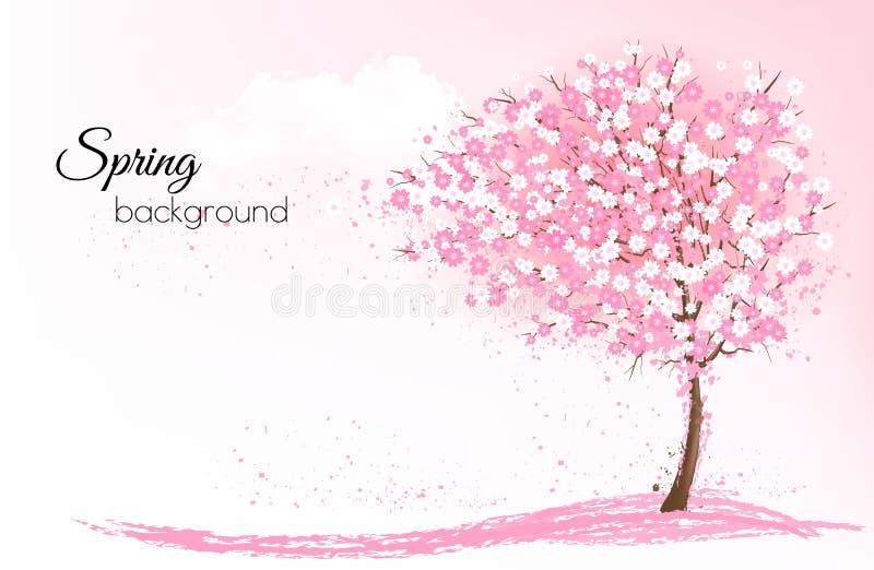 De achtergrond van de de lenteaard met een roze bloeiende sakuraboom royalty-vrije illustratie