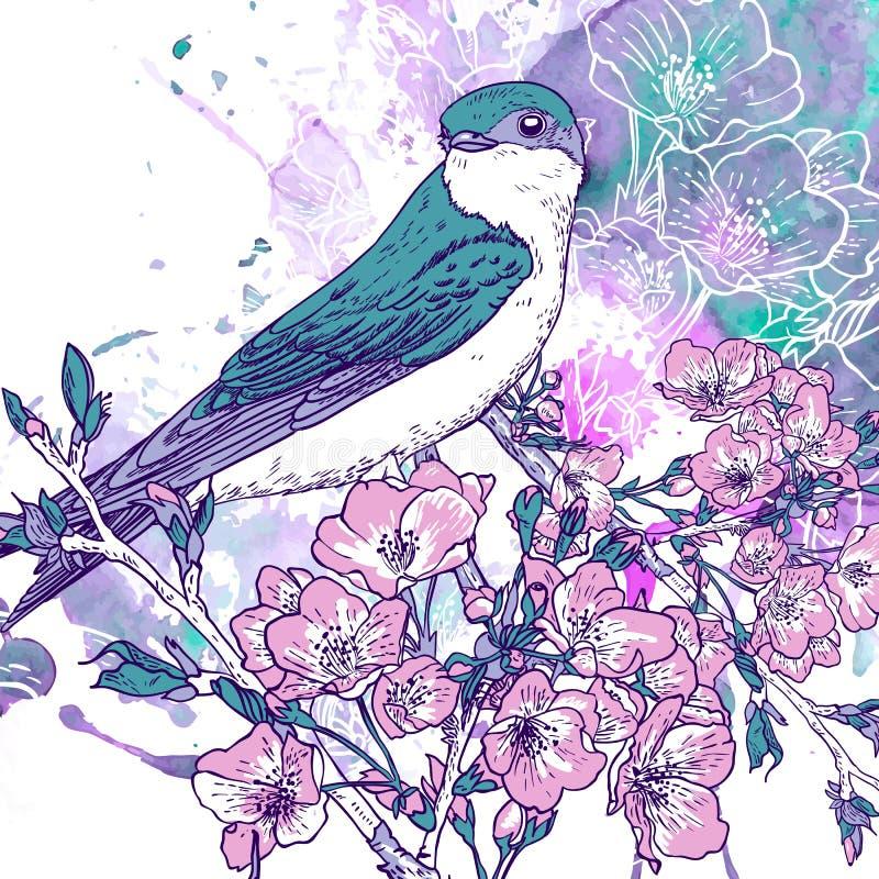 De achtergrond van de de lentekers met vogels stock illustratie