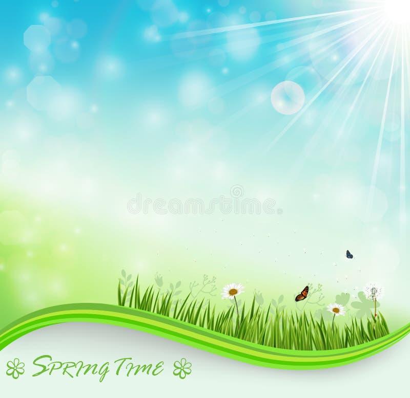 De achtergrond van de de lenteweide met bloemen en vlinders stock illustratie