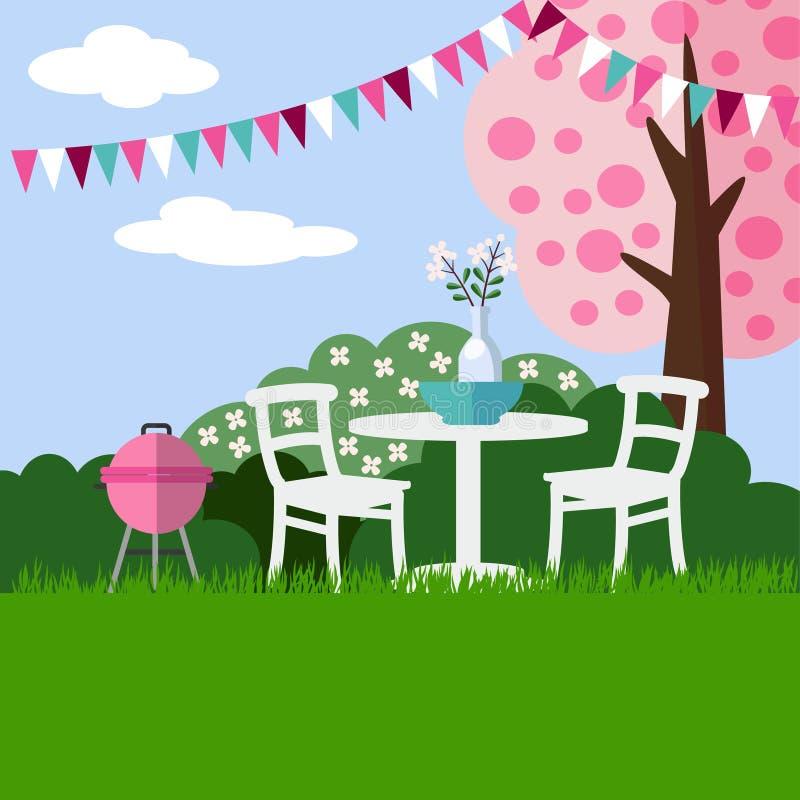 De achtergrond van de de partijbarbecue van de de lentetuin met tot bloei komende kersenboom, vlak ontwerp, royalty-vrije illustratie